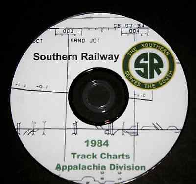 Southern Railway 1984 Appalachia Division Track Chart PDF Pages on DVD