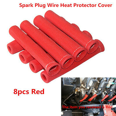 Red 1200° SPARK PLUG WIRE BOOTS HEAT SHIELD PROTECTOR SLEEVE SBC BBC 350 454 502