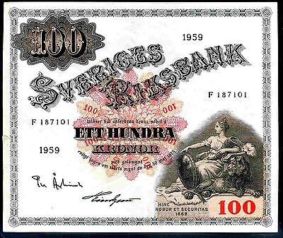 Sweden. 100 Kronor. F187101, 1959. Good Very Fine or better.