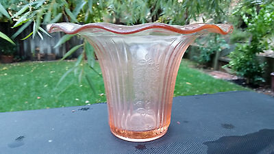 Pink Mayfair Open Rose Sweet Pea Vase by Anchor Hocking Depression Glass