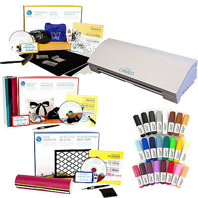 Silhouette CAMEO V3 Bluetooth Digital Cutting Machine Mega Bundle ***