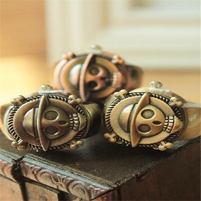 2016 Retro Mini Cute Skull Pirate Metal Stretch Pocket Finger Ring Watch hot TDD