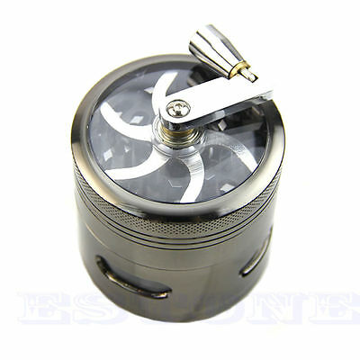 4 layer 63mm Zinc Alloy Hand Crank Herb Mill Crusher Tobacco Smoke Grinder