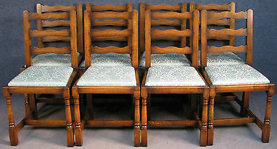 Set Of 8 Period Style Solid Oak Ladder Back Kitchen / Dining Chairs