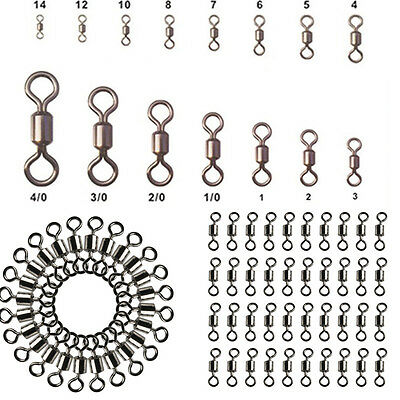 100Pcs Lots Fishing Barrel Bearing Swivel Stainless Steel Solid Ring Connector