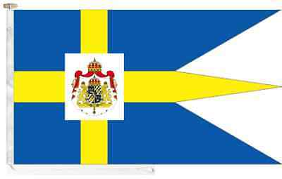 Sweden Royal Standard Roped & Toggled 2 Yard Triple-Tailed Courtesy Boat Flag
