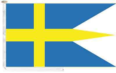 Sweden Navy Ensign Roped & Toggled 2 Yard Triple-Tailed Courtesy Boat Flag