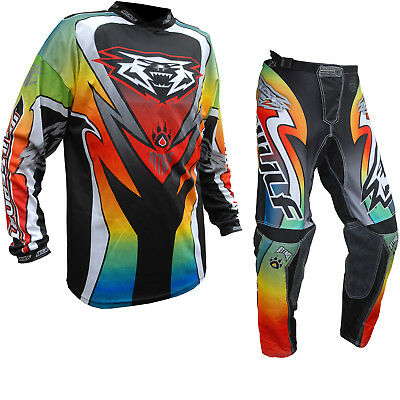 Wulf Attack Cub Off Road Motocross Jersey & Pants Multicoloured Kit Enduro MX