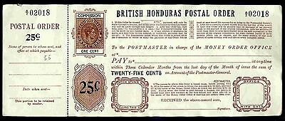 British Honduras, GEO VI, 25 Cents, One Cent Poundage, with counterfoil.