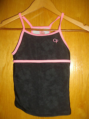 Ocean Pacific ~ Girls Black With Pink Trim Sports Top ~ Age 11-12 Years