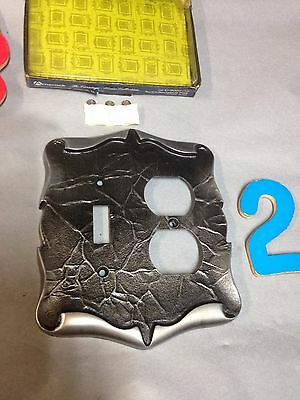 Vintage Amerock Carriage House Antique Silver Light Switch Receptacle Plate 2