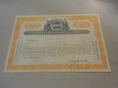 1953 Illinois Central Railroad Company Stock Certificate #NC187901 100 Shares