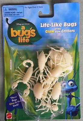 Vintage Disney A Bug's Life Collectible Glow in the Dark Life-Like Bugs! NIB