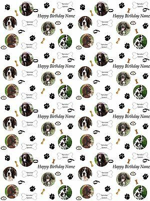 Sprocker Spaniel Personalised Birthday Gift Wrapping ADD NAME CHOOSE BACKGROUND