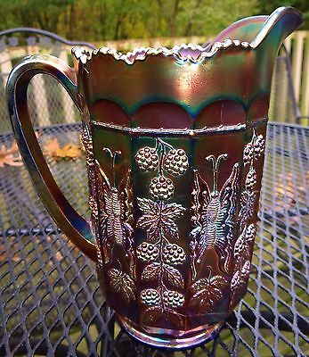 Fenton Amethyst On Blue Butterfly & Berry Carnival Glass Pitcher ca 1911-1925