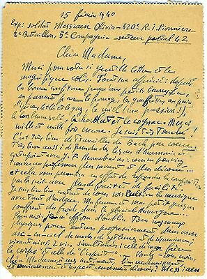 Olivier MESSIAEN (Composer): Important Early Autograph Letter