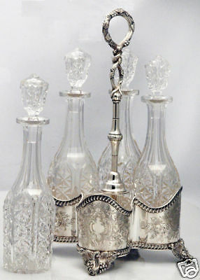 LINCOLN FOSS DECANTER STAND FOUR BOTTLES COIN SILVER, original glass, 1850