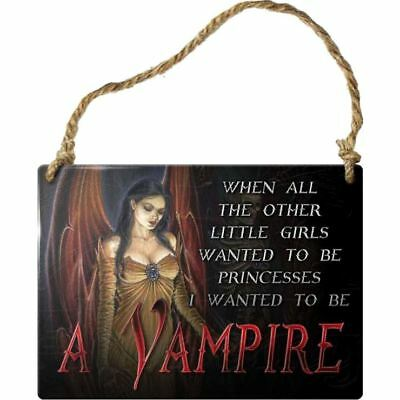 Alchemy Gothic I Want To Be A Vampire Steel Metal Hanging Wall Plaque Sign 9cm