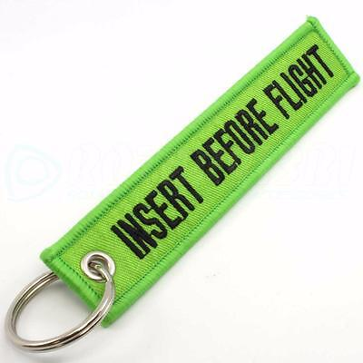 INSERT BEFORE FLIGHT QTY= 1 PC LIME GREEN/black KEYCHAIN RING TAGS CABIN CREW