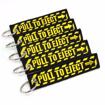 Pull To Eject - Keychains Qty=5 Pcs Black / Yellow Tags Emergency Use Pilot Crew