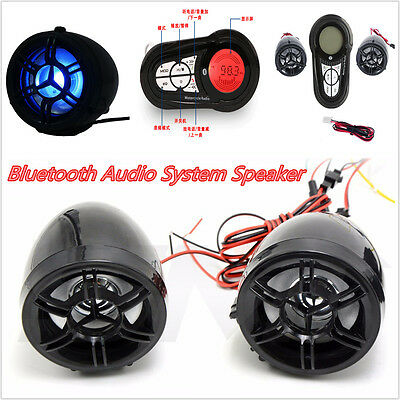 FM Bluetooth Motorcycle Audio System Sound Stereo Speaker MP3 USB/SD Waterproof