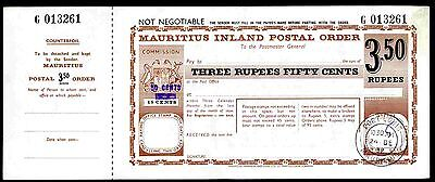 Mauritius Postal Order. 3.5 Rupee. Poundage surcharged 50 c,  short bar on 15c.