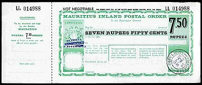 Mauritius Postal Order. 7.5 Rupees. Poundage surcharged 50c, long bar on o/pts.