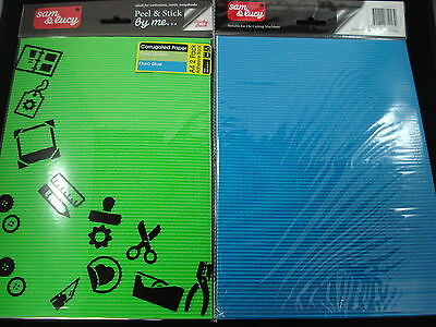 2 Packs Fluro Green/Blue Adhesive A4 Corrugated Paper Craft DIY FREE POSTAGE