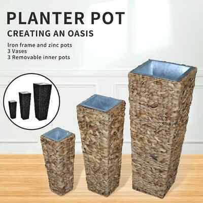 Black/Brown 3pcs Rattan Planter Box Garden Furniture Pot Plant Patio Flower Set