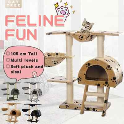 3 Colours Cat Tree Scratching Post 105 cm Scratcher Gym Condo with/no Pawprints