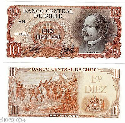 CHILE Billet 10 Escudos ND  (1967- 76 ) P143 NEUF UNC