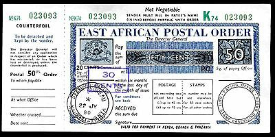 East African postal order, 50 Cents, Poundage 30 Cents opt on 20 Cents, C/foil.