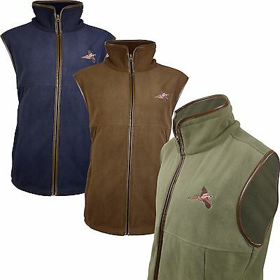 Pheasant Embroided Fleece Gilet Shooting Body Warmer Vest Hunting Jumper
