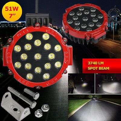 51W 7Inch Spot Round Cree Led Work Light Off Road Fog For SUV Boat Jeep Lamp
