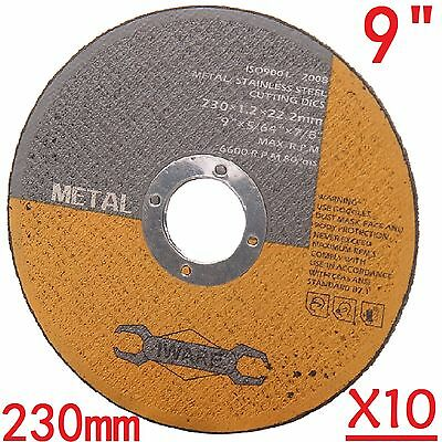"""10Pc 230mm 9"""" Ultra Thin Metal Cutting Blade Discs Stainless Steel Angle Grinder"""