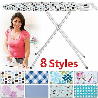 Large Highlands Deluxe Metal Ironing Board Iron Rack Height Adjustable -10 Steps