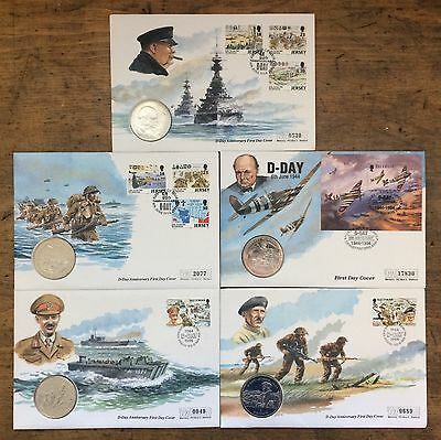 5 x 1994 Stamp & Coin First Day Cover, D-Day 50th Anniversary 1944 Churchill WW2