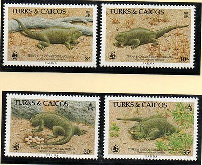 1986 TURKS & CAICOS Rock Iguana set SG888/91 unmounted mint