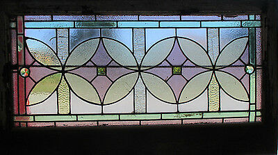 Antique American Stained Glass Window 44.5 X 25.25 ~ Architectural Salvage ~