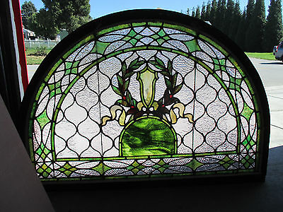 Great Antique American Stained Glass Transom Window 51X36 Architectural Salvage