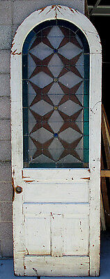 ~ ANTIQUE AMERICAN STAINED GLASS ARCHED DOOR ~ 32 x 96 ~ ARCHITECTURAL SALVAGE ~