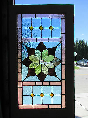 ~ ANTIQUE AMERICAN STAINED GLASS DOOR ~ 32 x 91.5 ~ ARCHITECTURAL SALVAGE ~
