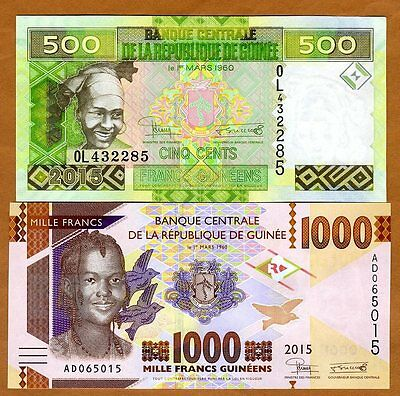 SET Guinea, 500;1000 francs, 2015, Pick New, UNC > Redesigned