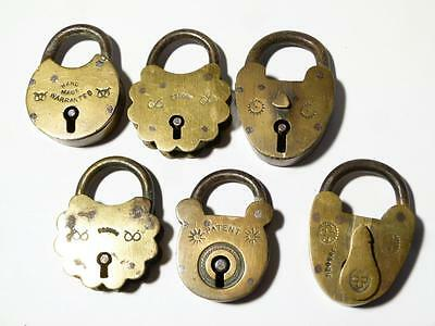 6 Antique Small Brass & Iron PADLOCKS - but have NO Keys #L1