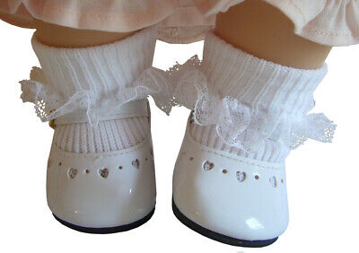 White Patent Shoes + Socks made for Bitty Baby Doll Clothes High Quality