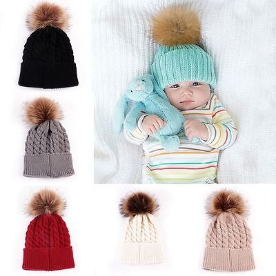 Newborn Baby Boy Girl Fur Pom Hat Winter Warm Crochet Knit Bobble Beanie Cap New