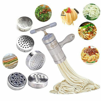 5 Molds Manual Kitchen Pasta Noodle Maker Spaghetti Machine Noddle Press
