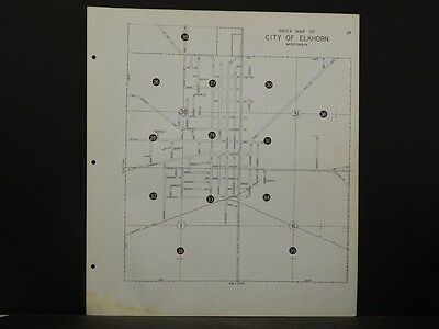 Wisconsin Walworth County Map City of Elkhorn 7 Maps 1966 Rev. 1982 P4#06