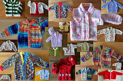 0-3m 3-6m 6-9m UNIQUE Hand Knits BOYS GIRLS Baby Cardigans & Sets. ALL DIFFERENT