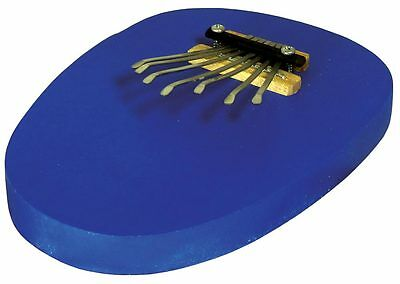 Atlas 7 note Mbira THUMB PIANO, blue flat wooden base, Easy and Fun, sweet tone!